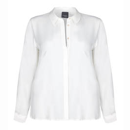 PERSONA BY MARINA RINALDI CLASSIC WHITE SILK MIX CREPE SHIRT  - Plus Size Collection