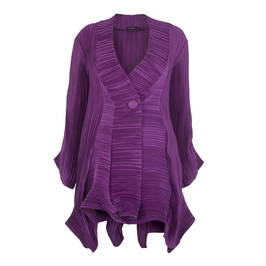 MASHIAH PURPLE FLUID PLEATED UNSTRUCTURED JACKET - Plus Size Collection