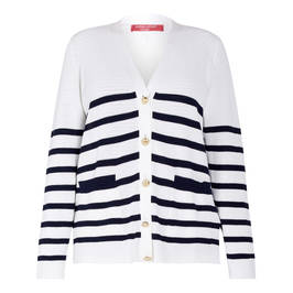 MARINA RINALDI WHITE AND NAVY STRIPE CARDIGAN - Plus Size Collection