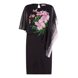 PIERO MORETTI ORCHID PRINT CHIFFON LAYER DRESS - Plus Size Collection