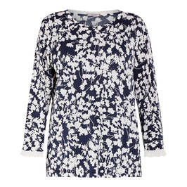 ELENA MIRO DITSY FLORAL SWEATER NAVY - Plus Size Collection