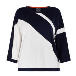 PERSONA BY MARINA RINALDI NAVY AND WHITE INTARSIA SWEATER - Plus Size Collection
