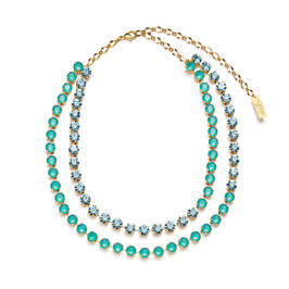 TWO STRAND SWAROVSKI CRYSTAL NECKLACE AQUA AND TURQUOISE - Plus Size Collection