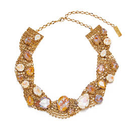 GOLD AND OPALESCENT SWAROVSKI CRYSTAL NECKLACE - Plus Size Collection