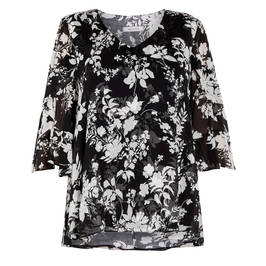 ELENA MIRO LAYERED GEORGETTE TUNIC BLACK  - Plus Size Collection