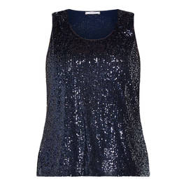 ELENA MIRO SEQUIN VEST NAVY - Plus Size Collection