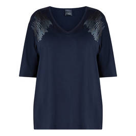 PERSONA BY MARINA RINALDI SEQUIN LAPEL T-SHIRT NAVY - Plus Size Collection