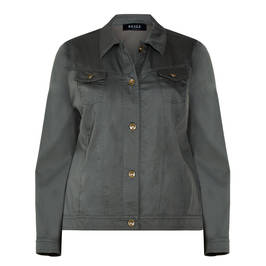 BEIGE LABEL DENIM JACKET KHAKI - Plus Size Collection