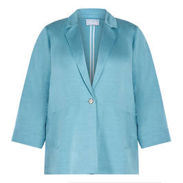 MARINA RINALDI LINEN BLEND JACKET BLUE - Plus Size Collection