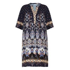 ELENA MIRO PASLEY PRINT DRESS BLUE  - Plus Size Collection