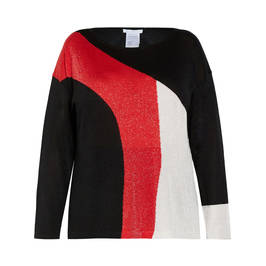 LUISA VIOLA KNITTED TUNIC BLACK RED  - Plus Size Collection