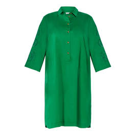 ELENA MIRO COTTON DRESS EMERALD  - Plus Size Collection