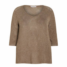 LUISA VIOLA KNITTED TUNIC TAUPE - Plus Size Collection