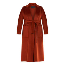 MARINA RINALDI DOUBLE-FACE WOOL COAT RUST - Plus Size Collection