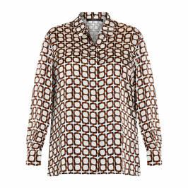 MARINA RINALDI SATIN SHIRT BROWN - Plus Size Collection