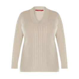 MARINA RINALDI CABLE KNIT SWEATER BEIGE - Plus Size Collection
