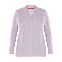 MARINA RINALDI CABLE KNIT SWEATER LILAC - Plus Size Collection