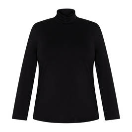 MARINA RINALDI JERSEY POLO NECK BLACK - Plus Size Collection