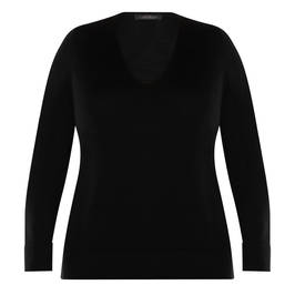 MARINA RINALDI BLACK V-NECK SWEATER - Plus Size Collection