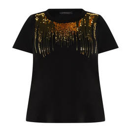 MARINA RINALDI SEQUIN T-SHIRT BLACK  - Plus Size Collection