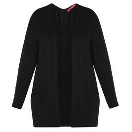 MARINA RINALDI CABLE KNIT CARDIGAN BLACK - Plus Size Collection