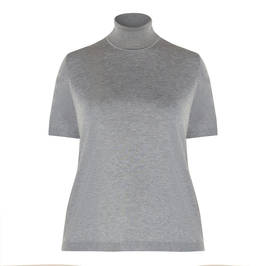 MARINA RINALDI FINE KNIT POLO NECK GREY  - Plus Size Collection