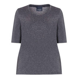PERSONA BY MARINA RINALDI LUREX TOP NAVY - Plus Size Collection