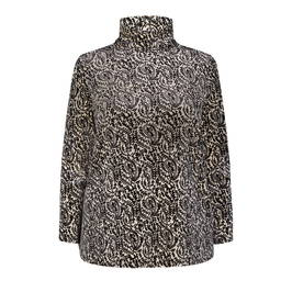 MARINA RINALDI PAISLEY VELOUR TUNIC BLACK AND WHITE - Plus Size Collection