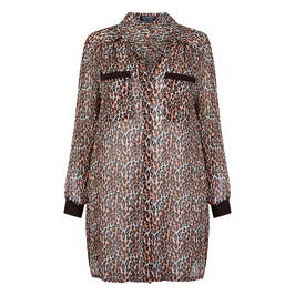 VERPASS GEORGETTE LONG SHIRT ANIMAL PRINT - Plus Size Collection