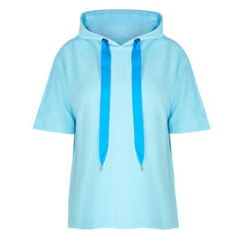 ZAIDA SHORT SLEEVE HOODY BLUE - Plus Size Collection