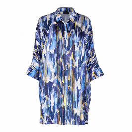 QNEEL PRINTED SATIN LONG SHIRT BLUE - Plus Size Collection