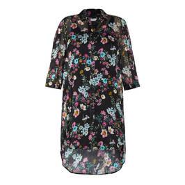 ELENA MIRO CHIFFON DUSTER COAT BLACK - Plus Size Collection