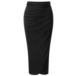 BEIGE DRAPED JERSEY LONGUETTE SKIRT - Plus Size Collection