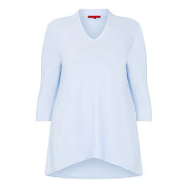 VETONO PURE COTTON KNITTED TUNIC PALE BLUE - Plus Size Collection
