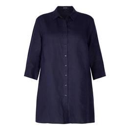 BEIGE PRINCESS CUT LINEN SHIRT - Plus Size Collection