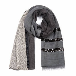 AHMADDY PURE WOOL PATCHWORK SEQUIN SCARF GREY - Plus Size Collection