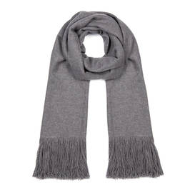 AHMADDY FRINGED PURE CASHMERE SCARF GREY - Plus Size Collection