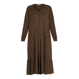 ALEMBIKA ANIMAL PRINT DRESS BROWN - Plus Size Collection