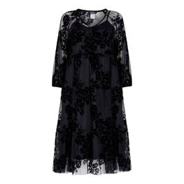ALEMBIKA LACE SHEER FLOCK PRINT WITH SLIP BLACK - Plus Size Collection