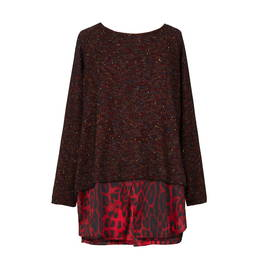 ALEMBIKA SWEATER WITH SHIRT HEM RED - Plus Size Collection