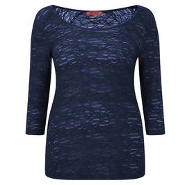 Beige NAVY semi sheer burnout top - Plus Size Collection