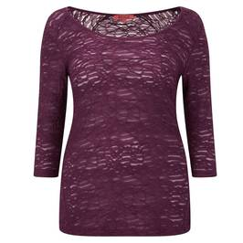 Beige burgundy semi sheer burnout top - Plus Size Collection