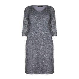BEIGE GREY SEQUINNED DRESS - Plus Size Collection