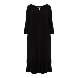 BEIGE BLACK JERSEY DRESS WITH BUBBLE HEM - Plus Size Collection