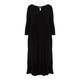 BEIGE BLACK JERSEY DRESS WITH BUBBLE HEM