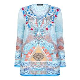 BEIGE BLUE KAFTAN WITH BEADED NECKLINE - Plus Size Collection