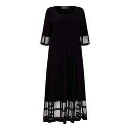 BEIGE LABEL BLACK STRETCH JERSEY MAXI DRESS WITH MESH CUFF AND HEM - Plus Size Collection