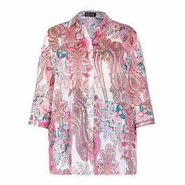 BEIGE PAISLEY PRINT SHIRT PINK - Plus Size Collection