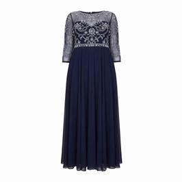 BEIGE LACE BODICE EMPIRELINE DRESS NAVY - Plus Size Collection