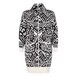 BEIGE BLACK AND WHITE INTARSIA CARDIGAN - Plus Size Collection